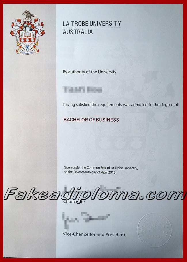 LTU fake diploma certificate, La Trobe University fake degree, Australia university fake certificate.