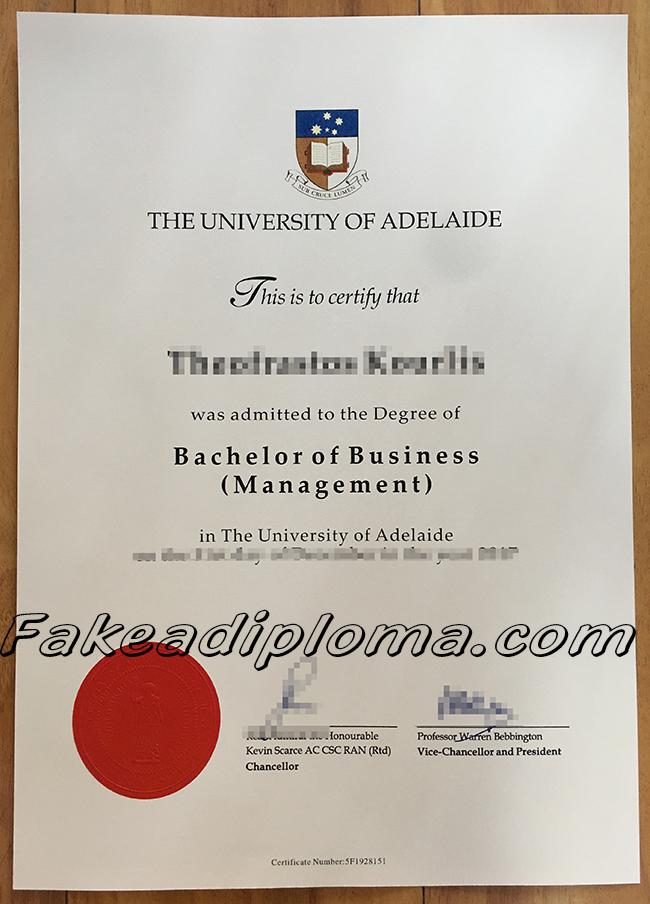The University of Adelaide fake diploma, Australia university fake degree.