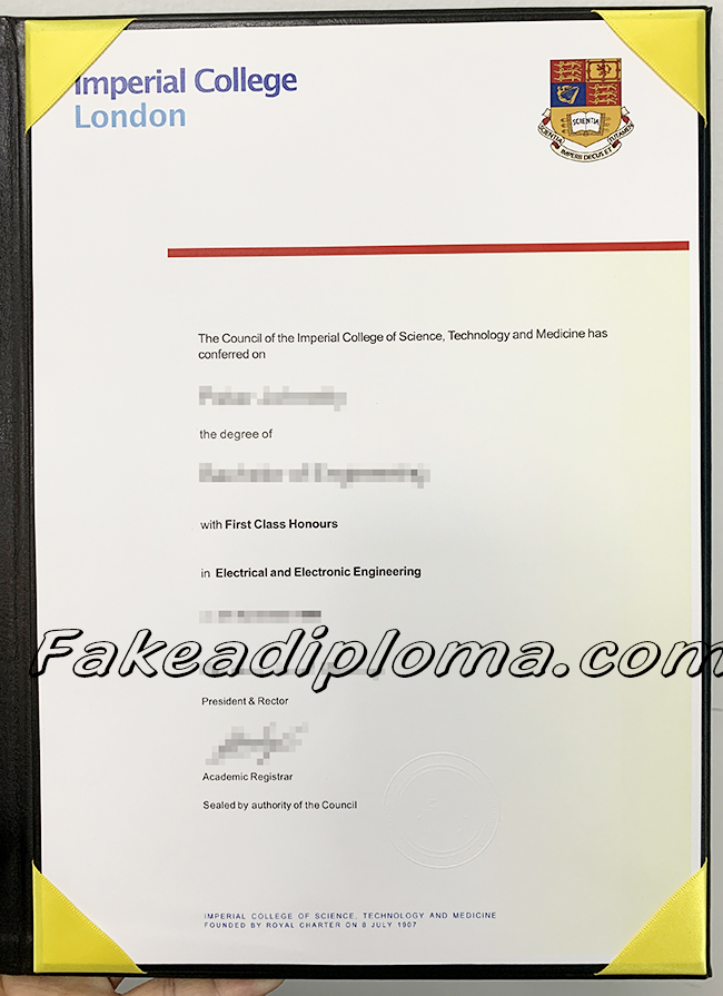 fake Imperial College London  diploma certificate, fake IC degree. fake UK University certificate.