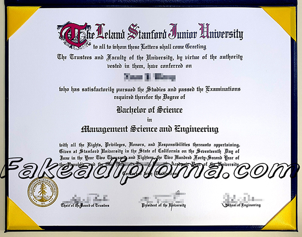 Stanford fake diploma certificate, Leland Stanford Junior University fake transcript.