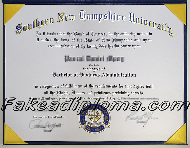 fake SNHU diploma, fake Southern New Hampshire University degree.