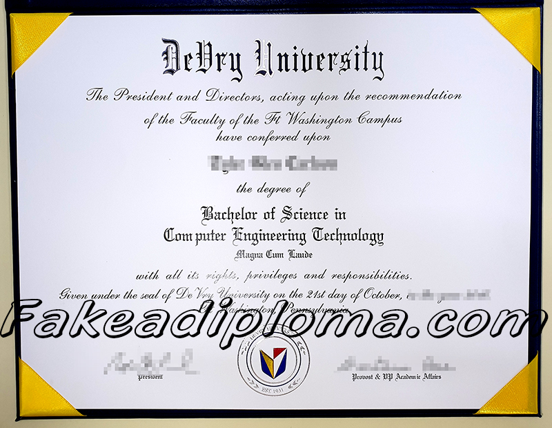 fake DeVry university degree, fake USA University diploma certificate.