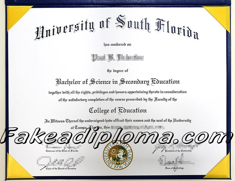 USF fake diploma, University of South Florida fake degree certificate, USA University fake transcript.