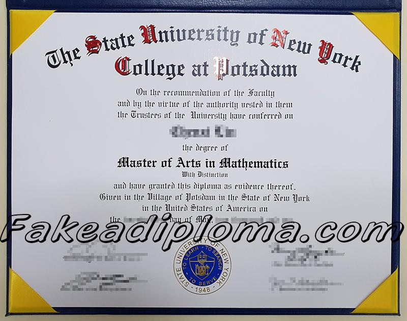 The State University of New York-Potsdam fake diploma certificate, USA university fake transcript.