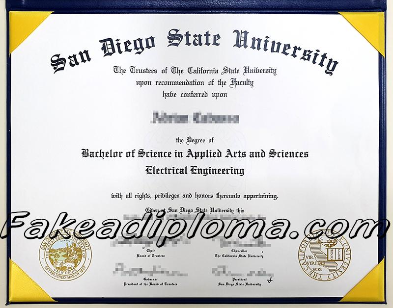 fake San Diego State University diploma, fake SDSU fake degree.