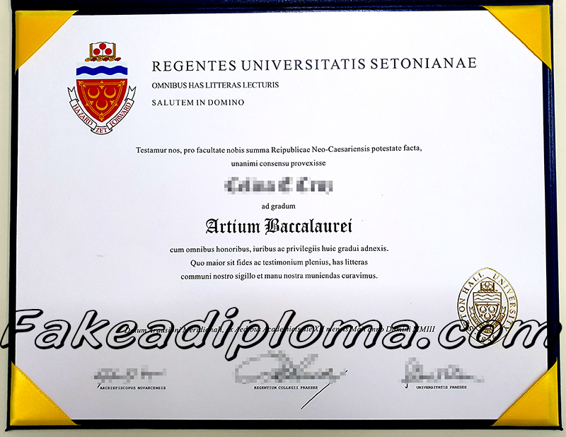 Seton Hall University fake diploma certificate, SHU fake transcript, US university fake degree.