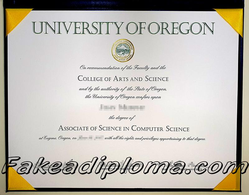 UO fake diploma sample, University of Oregon fake degree certificate.