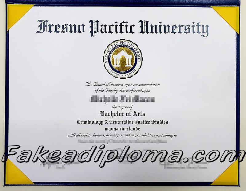 FPU fake degree certificate, Fresno Pacific university diploma sample.