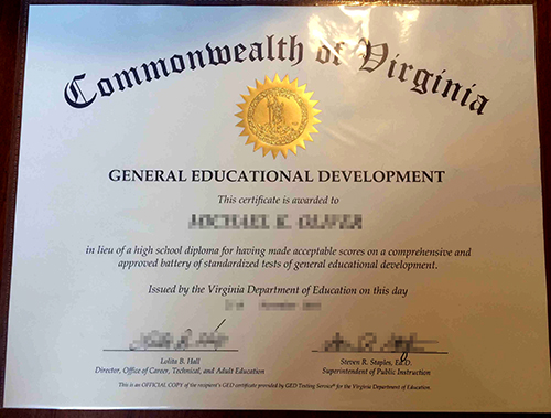 Fake GED Diploma Sample