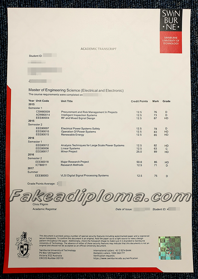 Fake Swinburne University of Technology Transcript,Fake SUT Transcript