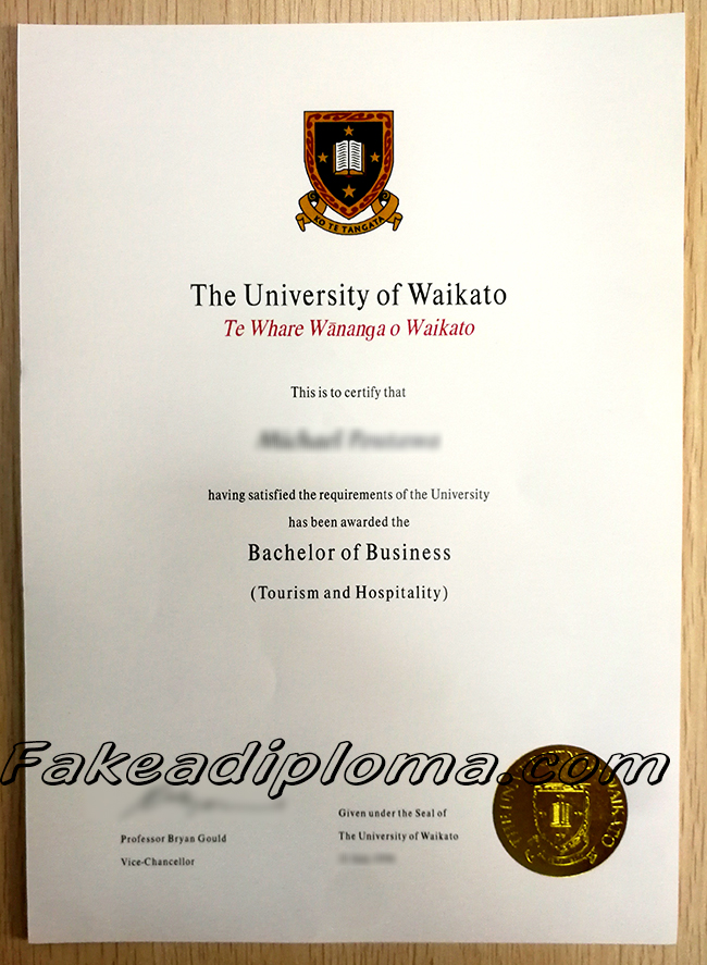 University of Waikato fake diploma sample, New Zealand University fake degree.