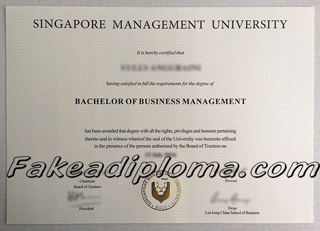 SMU fake diploma sample, Singapore Management University fake degree, Singapore University fake certificate.