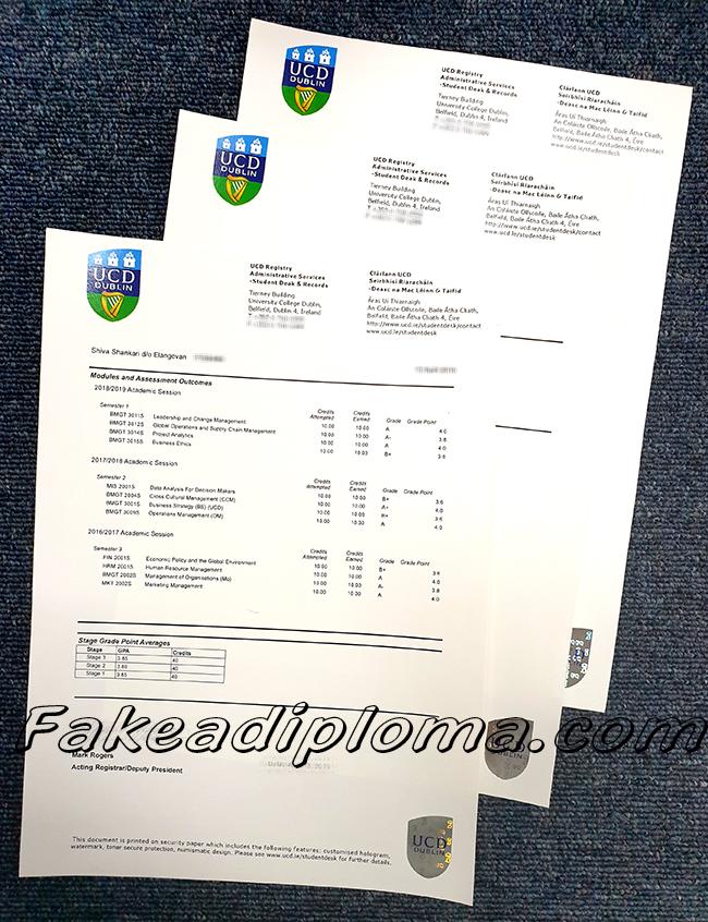 UC&UC Dublin fake transcript, UCD fake diploma certificate.