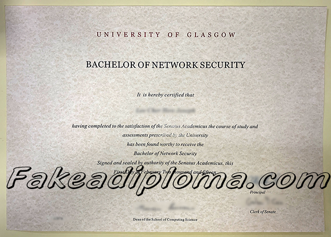 fake University of Glasgow degree, UK University fake diploma certificate.