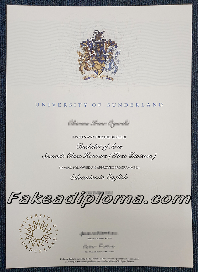 UOS fake diploma, the univeristy of sunderland fake degree. uk university fake certificate.