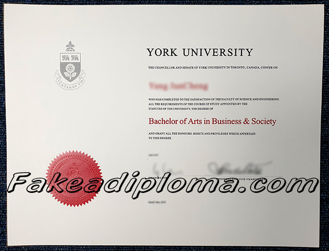 York University fake diploma sample, YU fake degree, Canada University fake certificate.