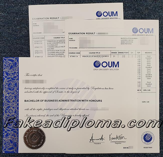 fake OUM diploma, fake Open University Malaysian degree, fake OUM transcript, fake Open University Malaysian transcript.