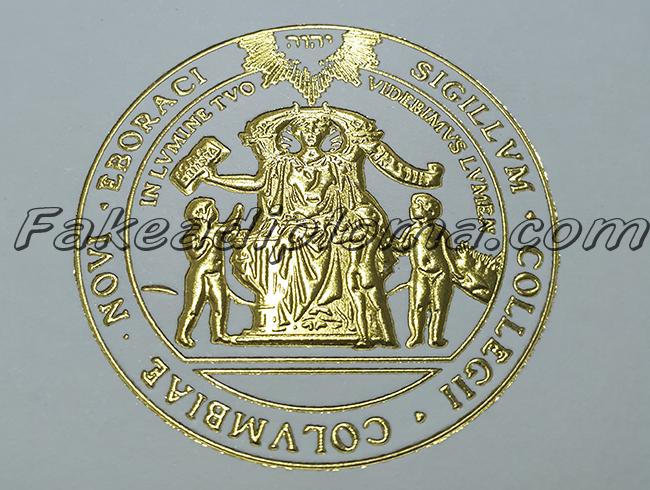 Fake Columbia University Diploma Certificate Seal