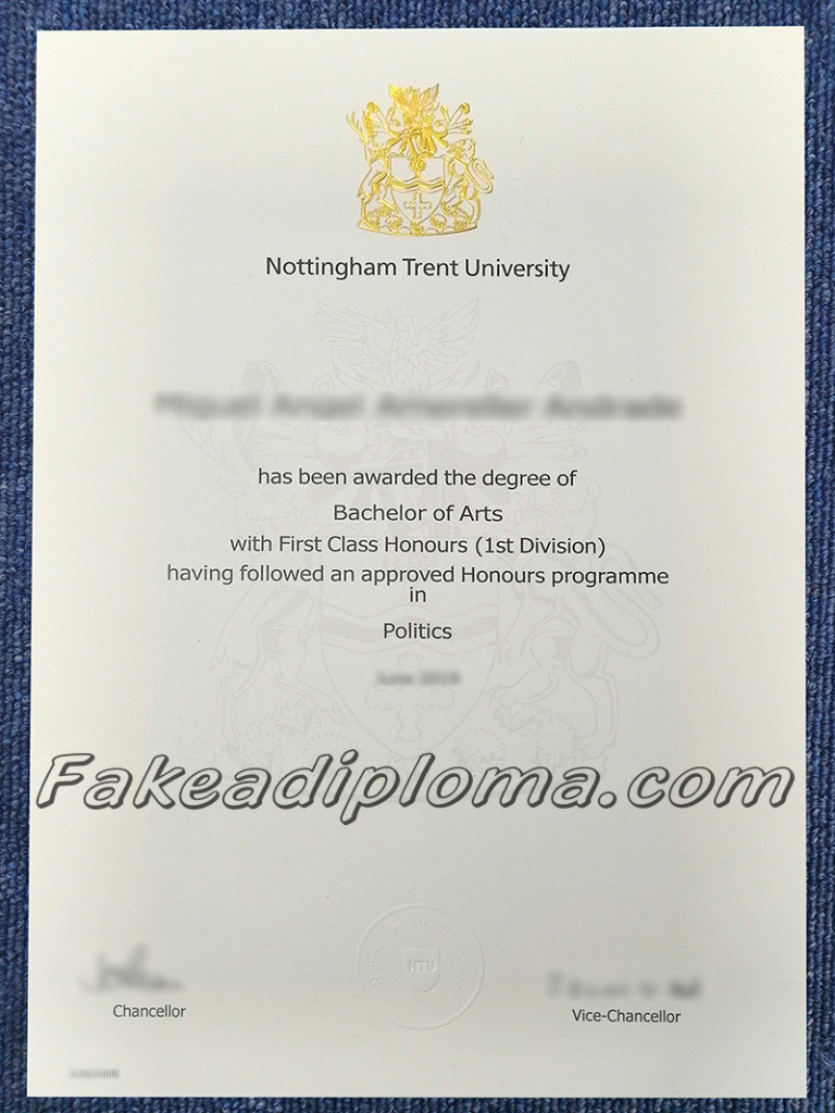 Fake Nottingham Trent University Diplomas, fake NTU degree, fake Nottingham Trent University diploma and transcript.