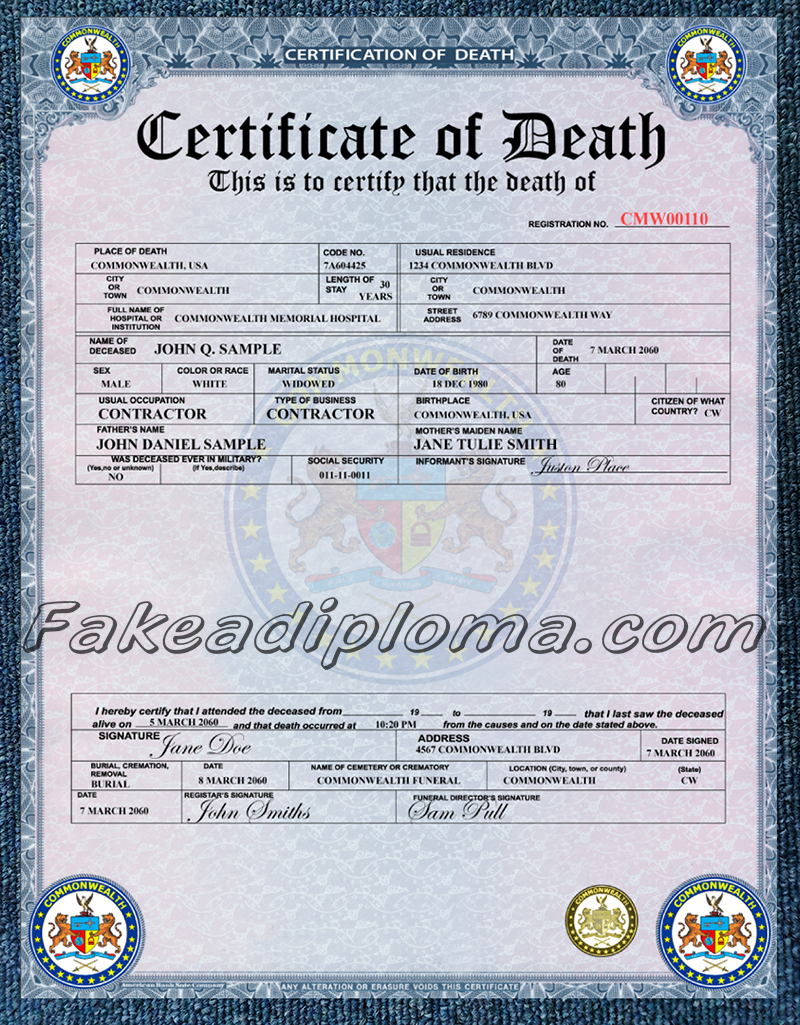 Fake Canadian Death Certificate