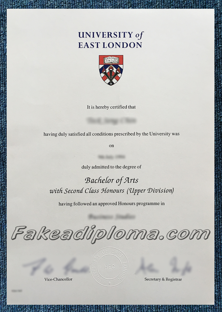 fake University of East London degree, fake UEL degree and transcript.