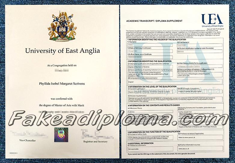 Fake University of East Anglia Degree And Transcript, fake UK University diploma and transcript.