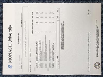False Monash University transcript sample