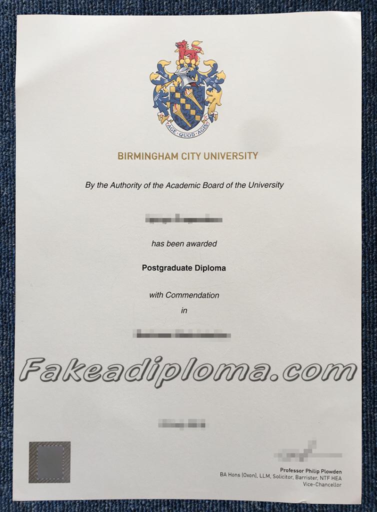 Fake Birmingham City University Diplomas, fake BCU degree, fake UK University diplomas