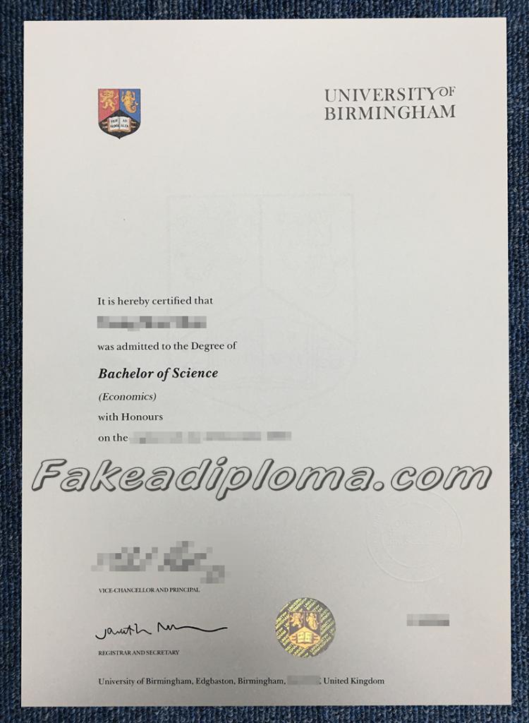 Fake University of Birmingham Degree, fake UoB diploma certificate, fake UK Univeristy diploma and transcript.