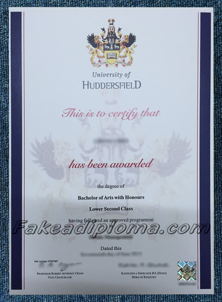 fake University of Huddersfield degrees, fake University of Huddersfield diploma certificate, fake UK University degree and transcripts.