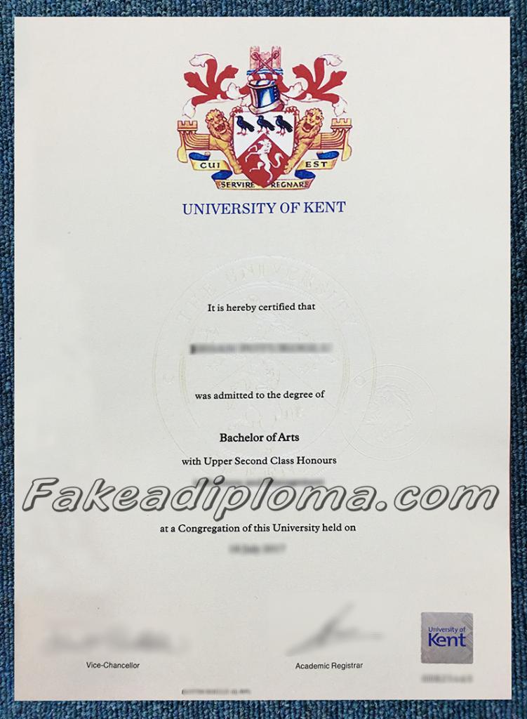 Fake UKC degree certificate, fake University of Kent diplomas.