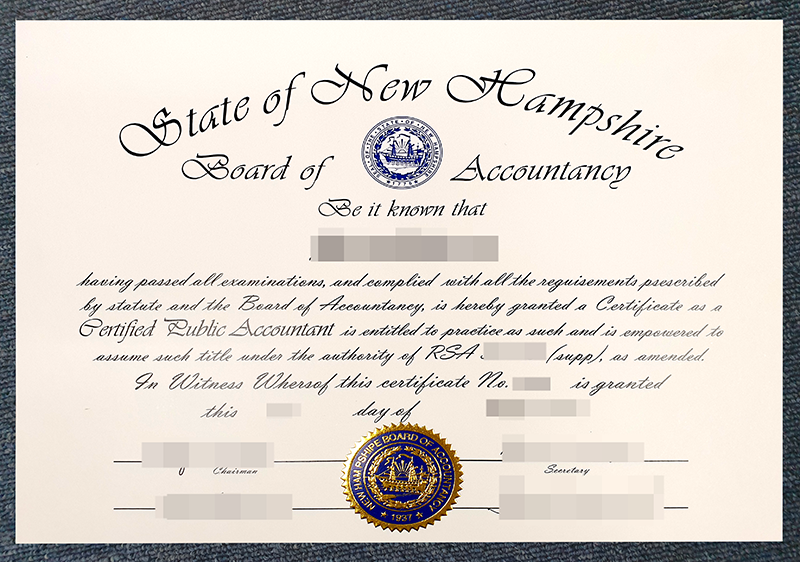 Fake State of New Hampshire CPA Certificate