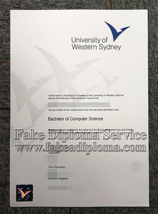 fake UWS diploma, fake Western Sydney University degree.