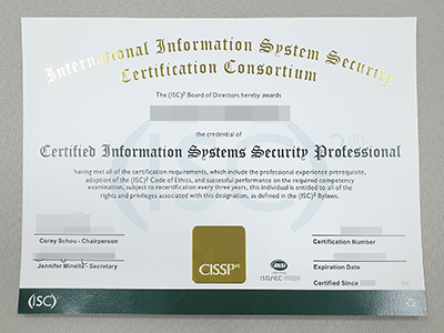 Where To Get A Fake CISSP Certificate? Buy A Fake Certified Information Systems Security Professional Certificate