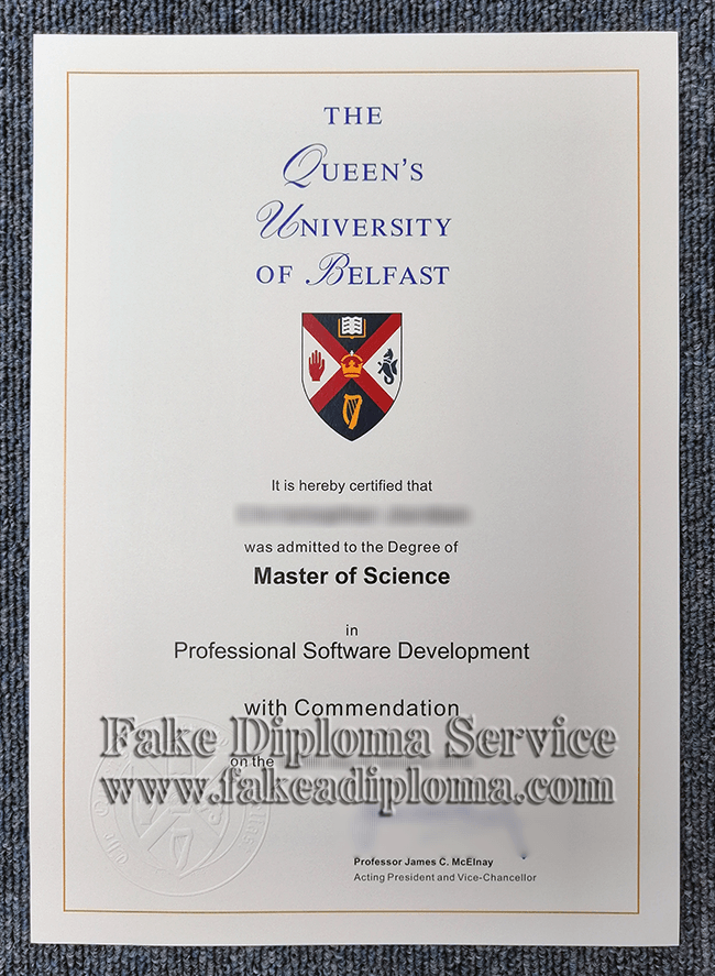 fake QUB diploma, fake Queen's University Belfast degree.