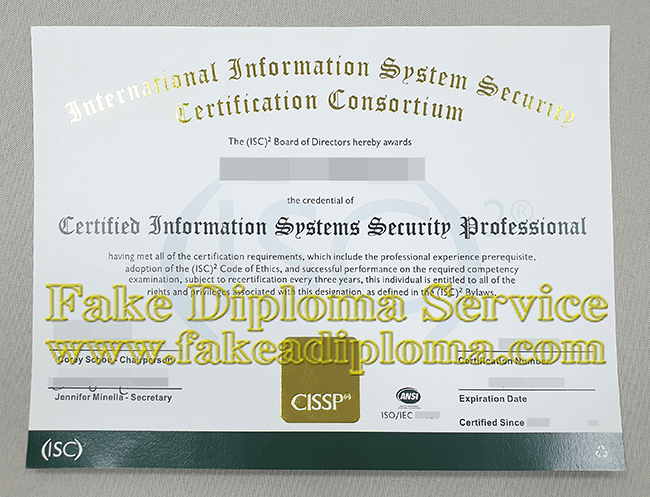 Get a Fake CISSP certificate, Fake Certified Information Systems Security Professional Certificate