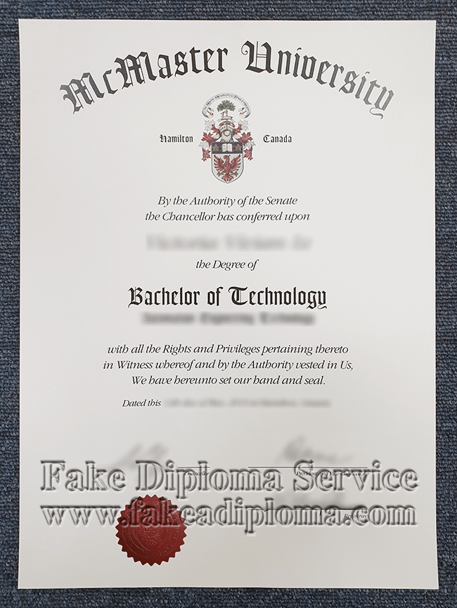 Fake McMaster University Diploma