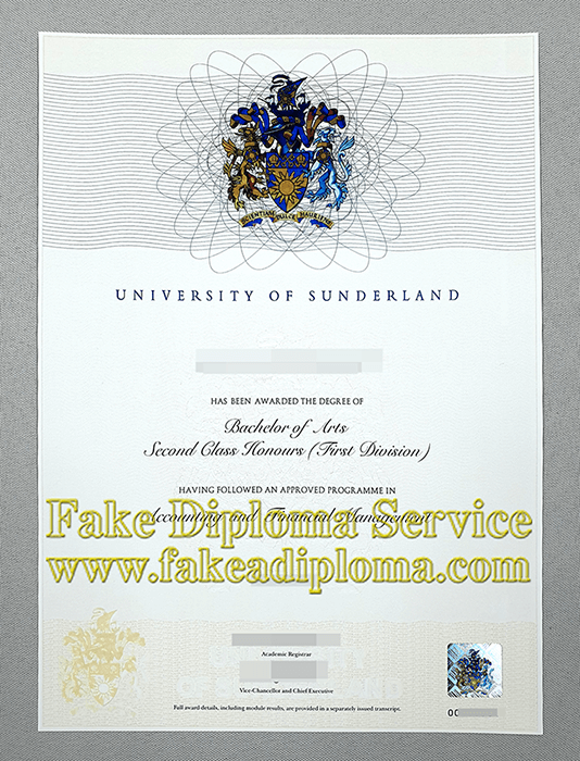Fake University of Sunderland Degree, fake UoS diploma.