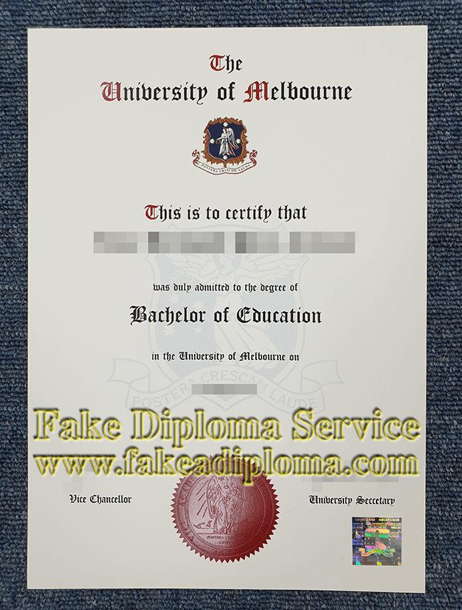 Fake Melbourne U Degree, fake University of Melbourne diploma.