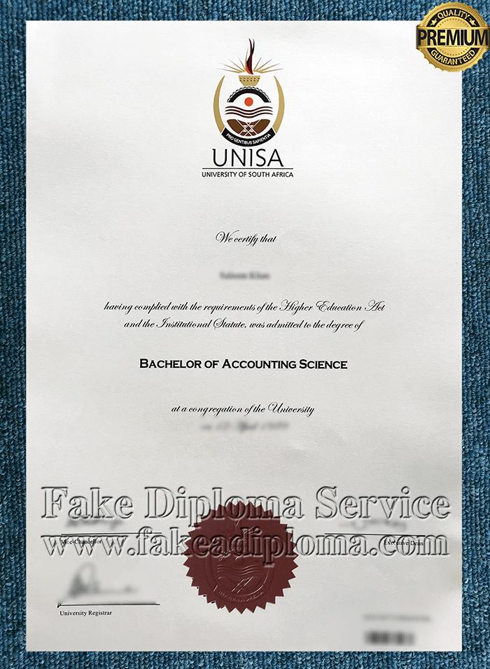 Fake UNISA Diploma, Fake University of South Africa Degree.
