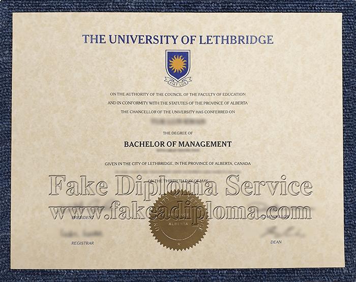 Fake University of Lethbridge Diploma certificate