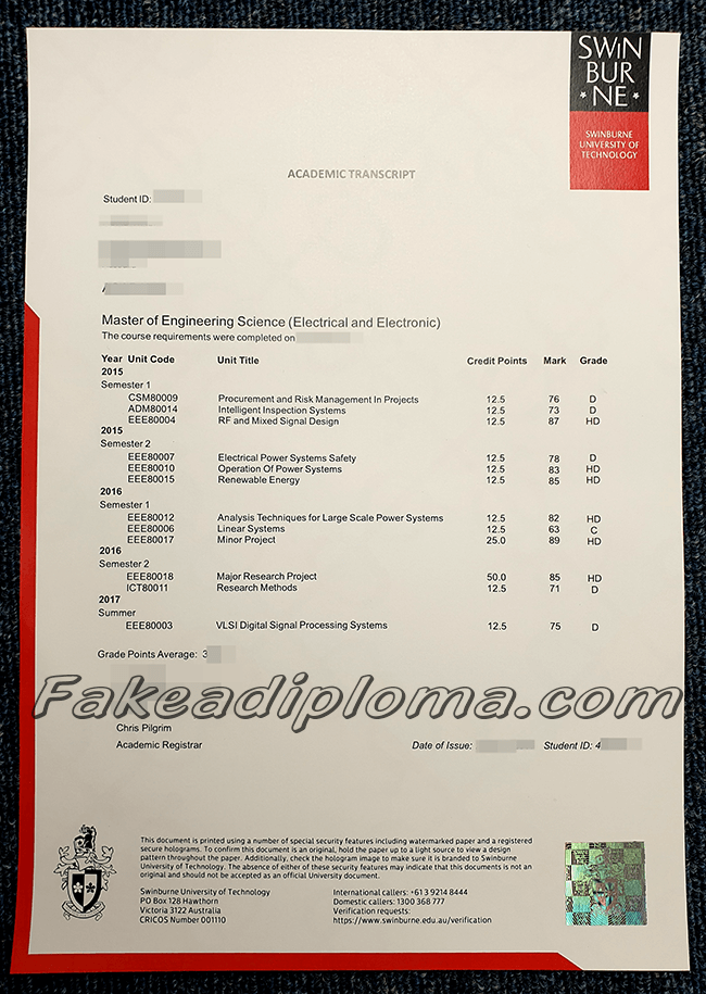 Fake Swinburne University of Technology Transcript,Fake SUT Transcript