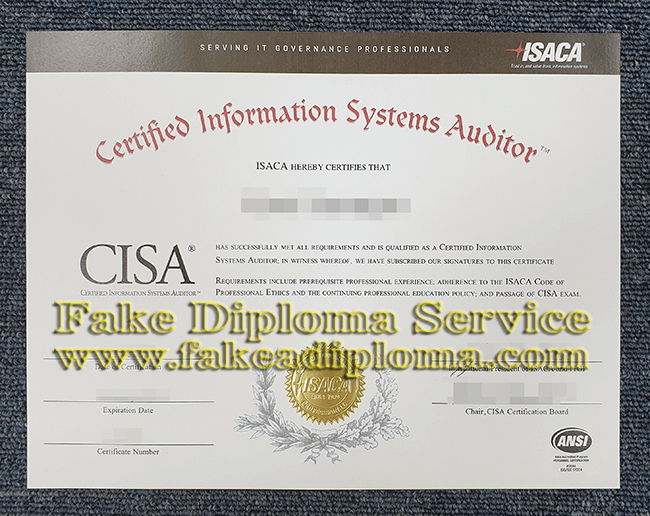 fake Information Systems Auditor Certificate, Fake CISA Certificate.