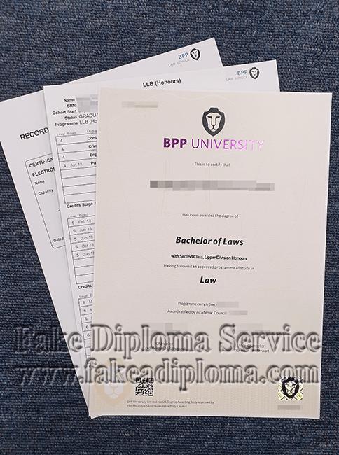 Fake BBP University degree certificate.