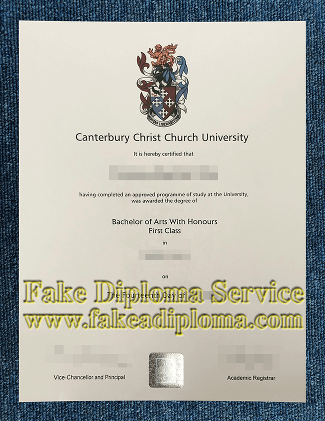 Fake Canterbury Christ Church University Diploma