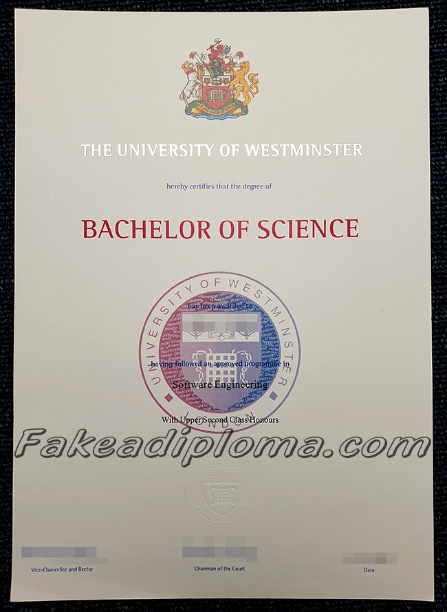 Fake University of Westminster Diploma