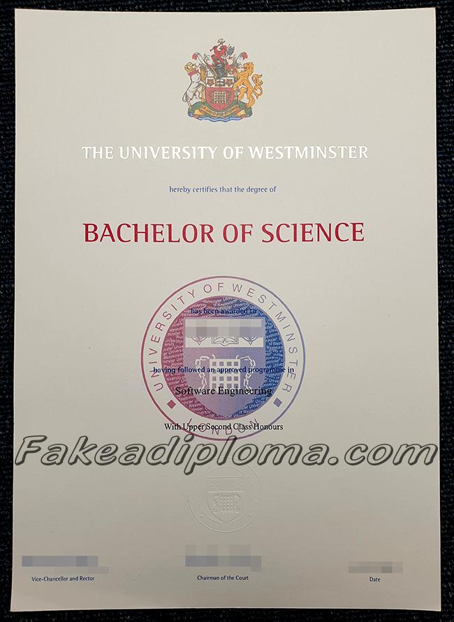 Fake University of Westminster Diplomas