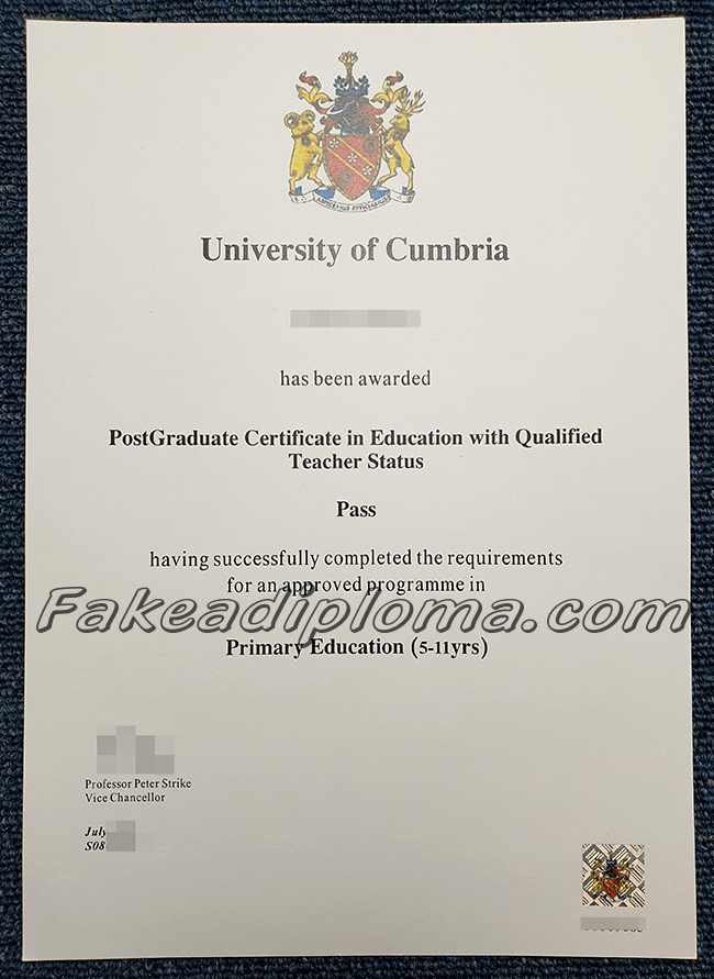 Fake University of Cumbria diploma