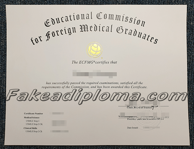 ECFMG fake certificate, false Educational Commission for Foreign Medical Graduates certificate