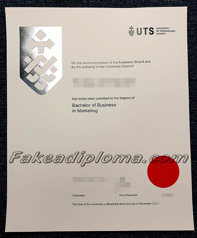 University of Technology Sydney fake diploma, UTS fake diploma certificate.